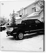 4x4 Pickup Trucks Parked In Driveway In Snow Covered Residential Street During Winter Saskatoon Sask Acrylic Print