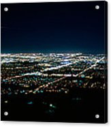 Aerial View Of A City Lit Up At Night Acrylic Print