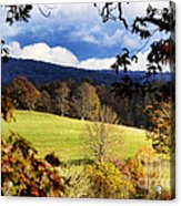 Autumn Hillside And Rain Clouds Acrylic Print