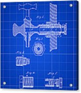 Beer Tap Patent 1876 - Blue Acrylic Print