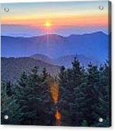 Blue Ridge Parkway Autumn Sunset Over Appalachian Mountains  Acrylic Print