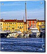 Boats At St.tropez Acrylic Print by Elena Elisseeva