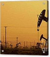 California Oil Field Under Amber Sky Acrylic Print
