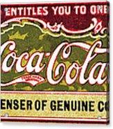Coca - Cola Vintage Poster Acrylic Print