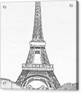 Black Ink On White Of Eiffel Tower  Acrylic Print