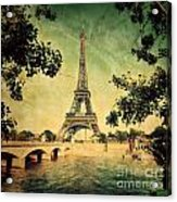 Eiffel Tower And Bridge On Seine River In Paris Acrylic Print