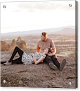 Engaged Couple At Smith Rock In Oregon Acrylic Print