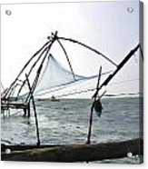 Fishing Nets On The Sea Coast In Alleppey Acrylic Print