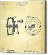 Fishing Reel Patent From 1874 Acrylic Print