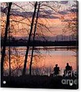 Fly Fishing At Sunset Acrylic Print