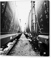 freight grain trucks on former canadian pacific railway now great sandhills railway through leader S Acrylic Print