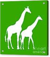 Giraffe In Green And White Acrylic Print
