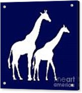 Giraffe In Navy And White Acrylic Print