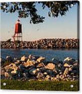 Lighthouse In Lake Michigan Nature Scenary Near Racine Wisconsin Acrylic Print