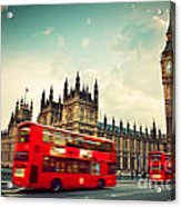 London Uk Red Bus In Motion And Big Ben Acrylic Print