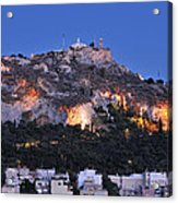 Lycabettus Hill During Dusk Time Acrylic Print