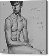 Original Drawing Sketch Charcoal Chalk Male Nude Gay Man Art Pencil On Paper By Hongtao Acrylic Print