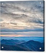 Sunset View Over Blue Ridge Mountains Acrylic Print