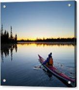 Usa, Oregon A Woman In A Sea Kayak Acrylic Print