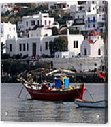 A Boat In The Harbor Of Mykonos Greece Acrylic Print