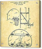 Vintage Basketball Goal Patent From 1944 Acrylic Print by Aged Pixel