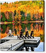 Wooden Dock On Autumn Lake Acrylic Print