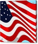 50 Star American Flag Closeup Abstract 9 Acrylic Print by L Brown