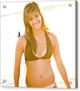 A Surfer Girl Poses For Fun Portraits Acrylic Print