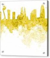 Barcelona Skyline In Watercolour On White Background Acrylic Print