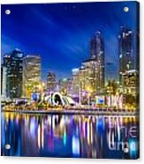 City Town At Night Acrylic Print