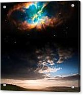 Countryside Sunset Landscape With Planets In Night Sky Elements  Acrylic Print