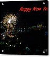 Happy New Year Greeting Card - Fireworks Display Acrylic Print