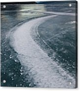 Ice Pattern On Frozen Abraham Lake Acrylic Print