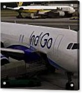 Indigo Aircraft Getting Ready In Changi Airport Acrylic Print