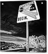 Nevada Scenic Byways Begin Signpost On The White Domes Road Valley Of Fire State Park Nevada Usa Acrylic Print