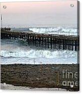 Ocean Wave Storm Pier Acrylic Print