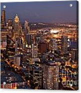 Seattle Skyline With Mount Rainier And Downtown City Lights Acrylic Print
