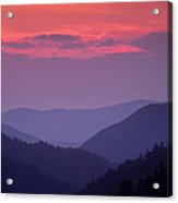 Smoky Mountain Sunset Acrylic Print by Andrew Soundarajan