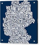 Text Map Of Germany Map Acrylic Print by Michael Tompsett
