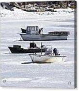 Boat And Ice Hobart Beach Ny Acrylic Print