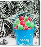 Decorative Pail Of Christmas Candy Acrylic Print