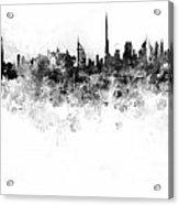 Dubai Skyline In Watercolour On White Background Acrylic Print