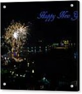 Happy New Year Greeting Card - Fireworks Display Acrylic Print