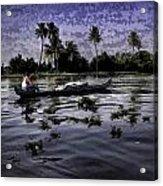 Man Boating On A Salt Water Lagoon Acrylic Print