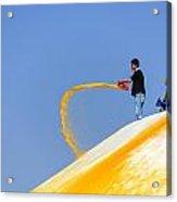 Man Throwing Orange Paint On Boudhanath Stupa Acrylic Print