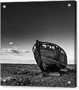 Stunning Black And White Image Of Abandoned Boat On Shingle Beac Acrylic Print