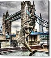 Tower Bridge And The Girl And Dolphin Statue Acrylic Print