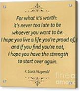74- F. Scott Fitzgerald Acrylic Print