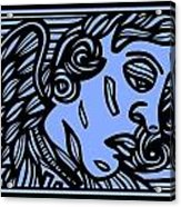 Bouthillette Angel Cherub Blue Black Acrylic Print