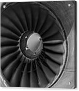 757 Engine Black And White Acrylic Print